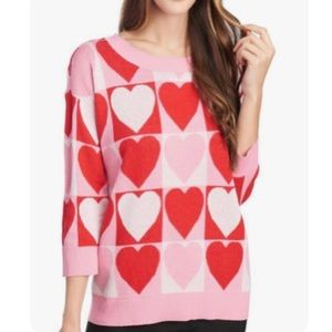 Cable & Gage Knit Heart Sweater Size Small